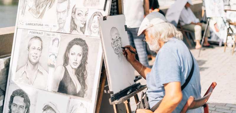 Karikaturisten en sneltekenaars thema